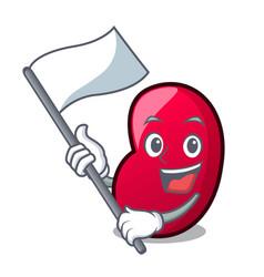 With flag jelly bean mascot cartoon vector
