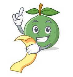 With menu guava mascot cartoon style vector