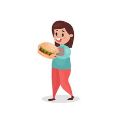 Young fat woman eating giant burger harmful habit vector