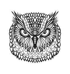 Zentangle stylized eagle owl head Tribal sketch vector image