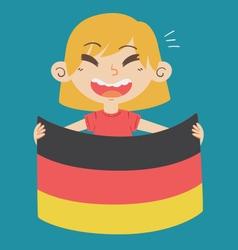 Cartoon Girl Holding a Germany Flag vector image