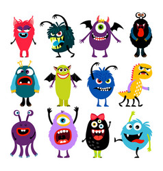 cute cartoon mosters collection vector image