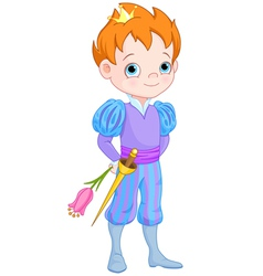 Cute Little Prince Holds Flower vector image vector image