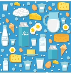 Dairy product seamless pattern flat style milk vector