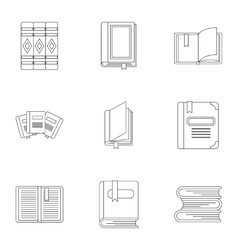 Education book icons set outline style vector image