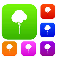 fluffy tree set collection vector image