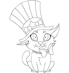 Independence Day Kitten Coloring Page vector image