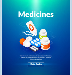 medicines poster of isometric color design vector image vector image