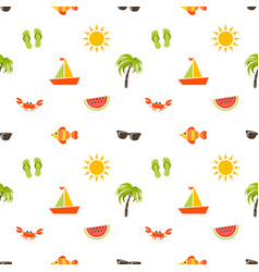 seamless pattern with sea beach icons vector image vector image