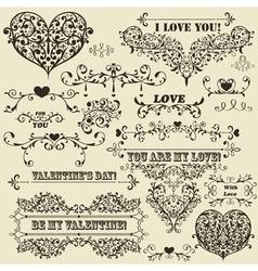 vintage Valentines detailed design vector image vector image