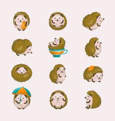 hedgehog cartoon prickly animal character vector image vector image
