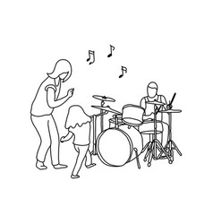man playing drum and his wife and girl dancing vector image vector image