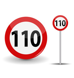 round red road sign speed limit 110 kilometers per vector image vector image