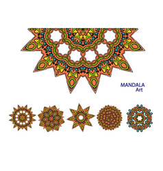 set of colorful mandalas decorative round vector image