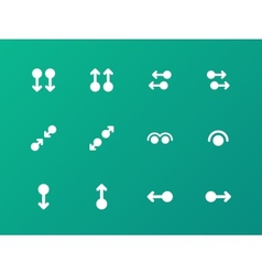 Simple touch pad gestures icons on green vector image