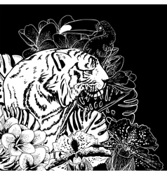 Tropical exotic floral background with tiger vector