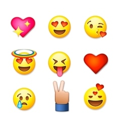 Valentines day emoticon icons Love emoji set vector image vector image