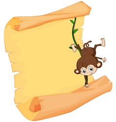 A monkey and a paper sheet vector image vector image