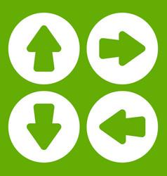 arrow set icon green vector image
