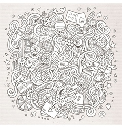 Cartoon hand-drawn doodles casino gambling vector
