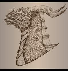 Dragon head vintage vector image