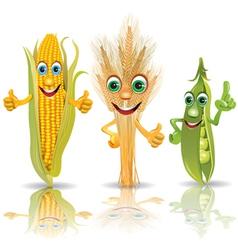 Funny vegetables corn ears of corn peas vector image vector image