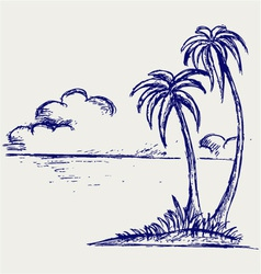 Island palm vector image vector image