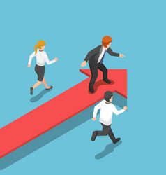 isometric businessman standing on red arrow at vector image