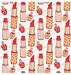 lipstick and nail polish cosmetics pattern beauty vector image