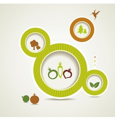 Set of organic and farm fresh food bubbles vector image