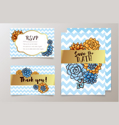 trendy card with succulent for weddings save the vector image vector image