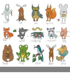 Wild animalsisolated Woodland doodle set vector image vector image