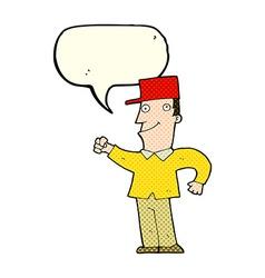 Cartoon man punching air with speech bubble vector