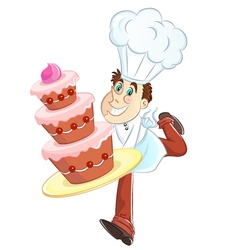 chef with a cake vector image vector image