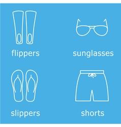 mens beachwear outline icon set vector image
