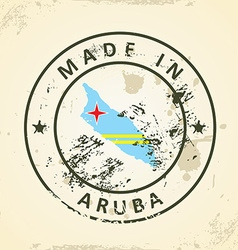 Stamp with map flag of Aruba vector image