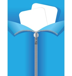 Zipper on blue background vector image