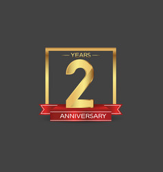 2 years anniversary logo style with golden square vector