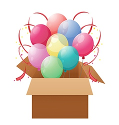 A box with eight colorful balloons vector
