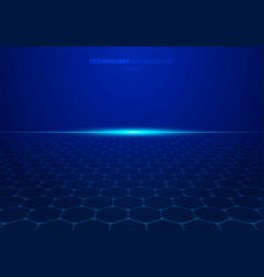 abstract blue technology hexagon pattern on vector image