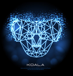 abstract polygonal tirangle animal koala neon vector image