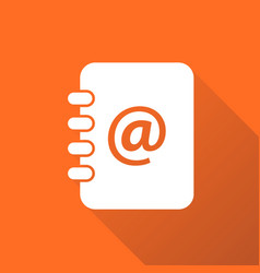 address book icon with long shadow email note vector image