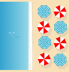 aerial view of sea beach with beach umbrellas vector image