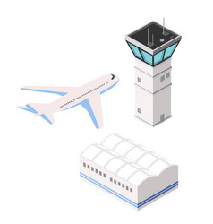 Airport runway control tower transportation vector