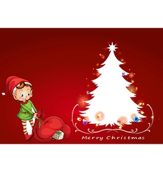 An elf beside the christmas tree vector image
