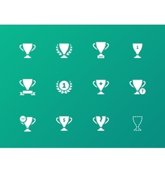 awards icons on green background vector image