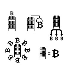 bitcoin cryptocurrency extraction and exchange vector image