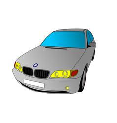 Bmw serie 3 grey car vector