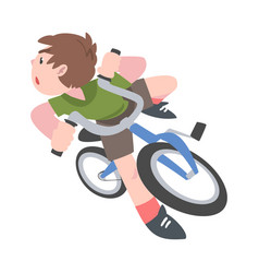 boy falling down from bike traumatic situation vector image