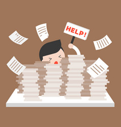 Businessman in pile of documents asking for help vector